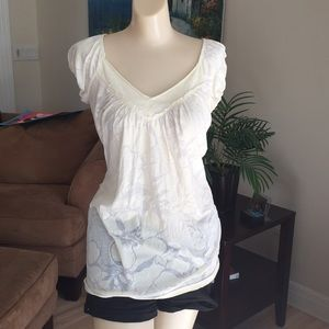 TESTAMENT ivory semi sheer tunic TOP- M